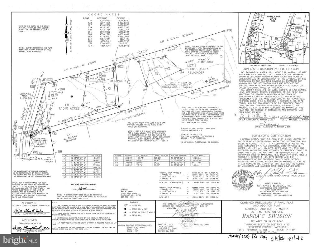 Plat of adjoining lot behind home. - 12823 BRICE RD, THURMONT