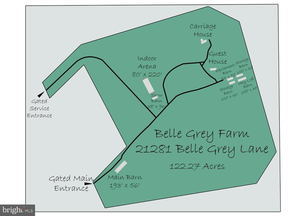 Belle Grey Farm Site layout of Land & Improvements - 21281 BELLE GREY LN, UPPERVILLE