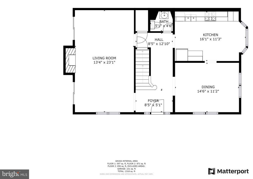 Floor plan main level - 6151 BRAELEIGH LN, ALEXANDRIA