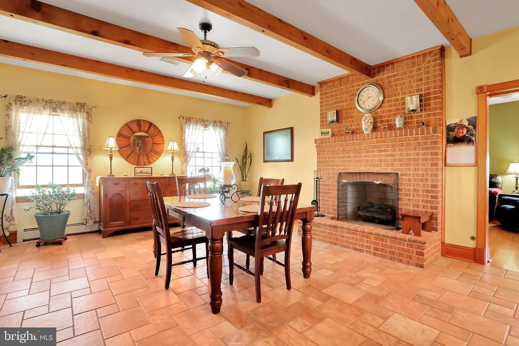 Dining area with beams and FP - 5201 RELIANCE, MIDDLETOWN