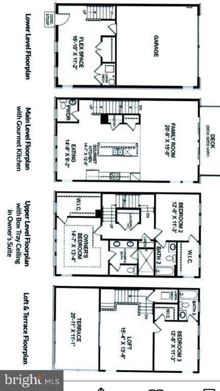 FLOOR PLANS for All Four Levels - 12012 N SHORE DR, RESTON