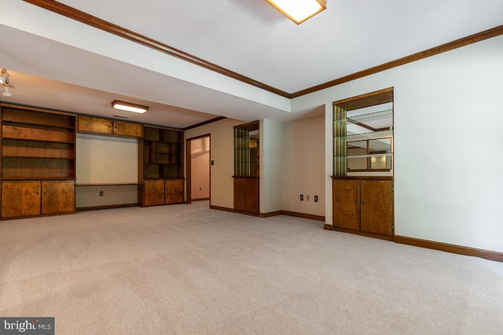 Recreation room with built-in shelves - 7324 JENNA RD, SPRINGFIELD