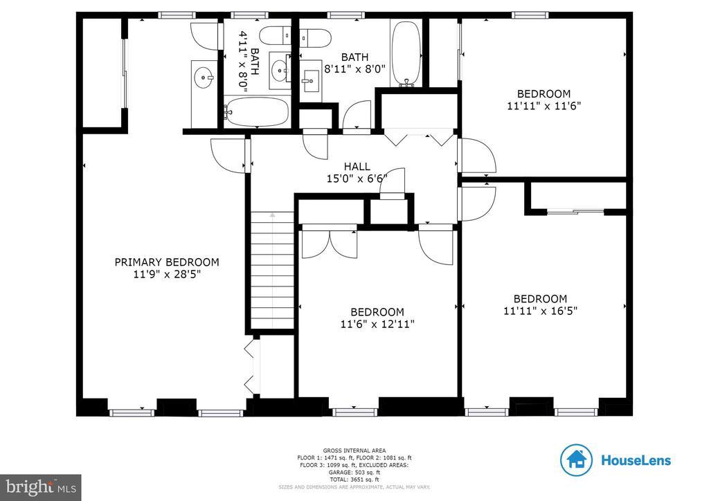 Upper level floor plan - 7324 JENNA RD, SPRINGFIELD