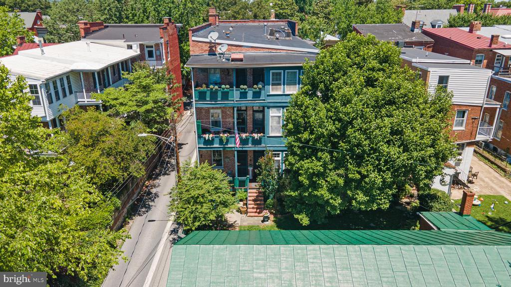 elevated view- rear fa�ade from garage - 100 E 2ND ST, FREDERICK