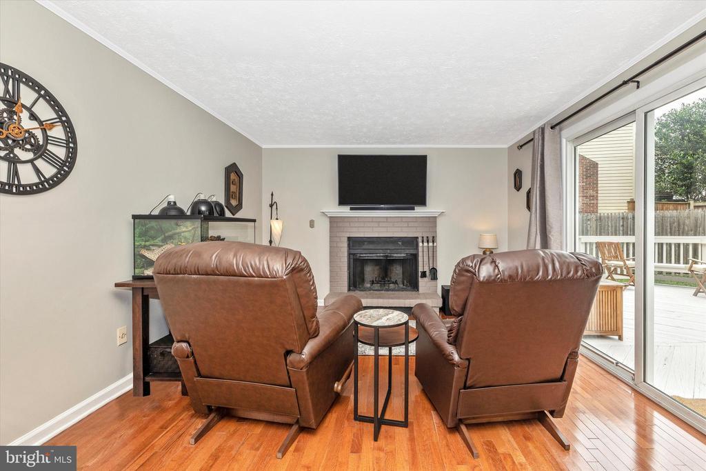 Living Room with FP, Wood Floor & Door to Deck - 18312 AMBER MEADOWS CT, GAITHERSBURG