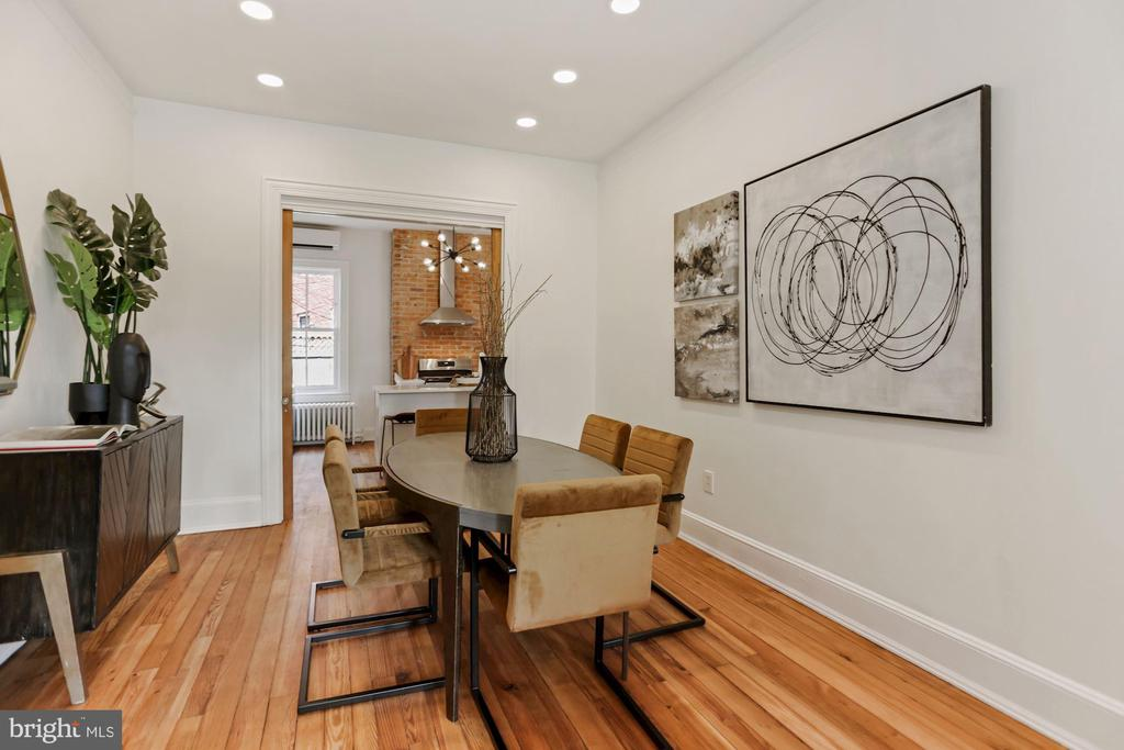 Dining room with lovingly restored pocket doors - 1838 VERMONT AVE NW, WASHINGTON