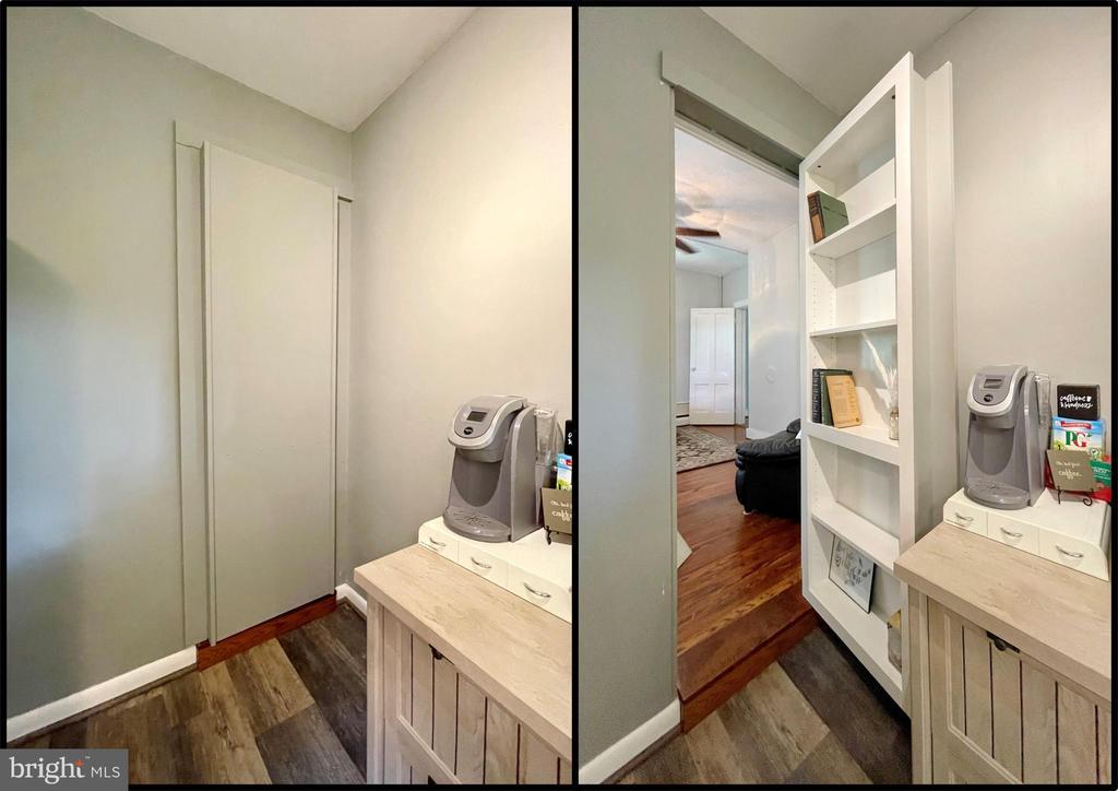 Murphy door opens to book shelves in main bedroom - 410 S NURSERY AVE, PURCELLVILLE