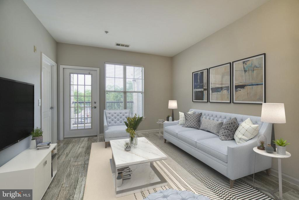 staged living room - 205 MEETING HOUSE STATION SQ #301, HERNDON