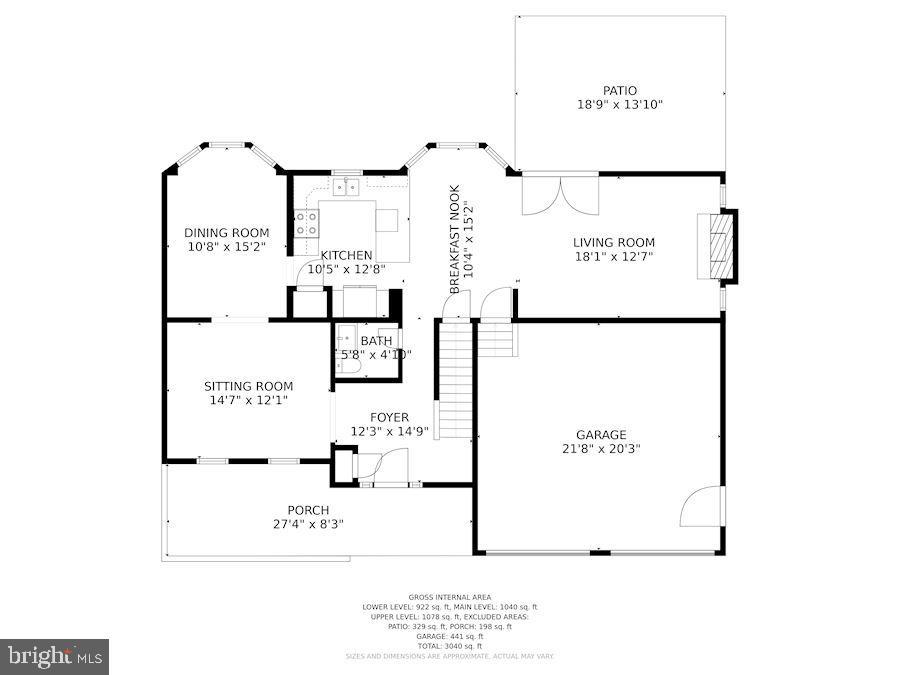 Floor Plan - Main Level - 205 SAIL CV, STAFFORD