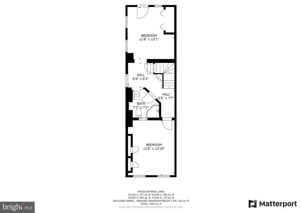 Upper Level 1 w/2 Bdrms; Bath; Built Ins - 21 E SOUTH ST, FREDERICK