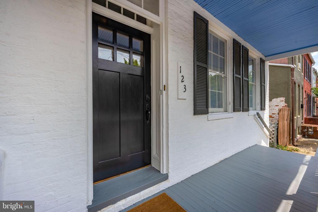 Front porch with new mahogany door - 123 W 5TH ST, FREDERICK