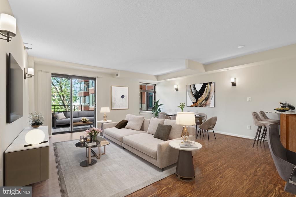 Spacious Living and Dining Area with Large Balcony - 2400 CLARENDON BLVD #316, ARLINGTON