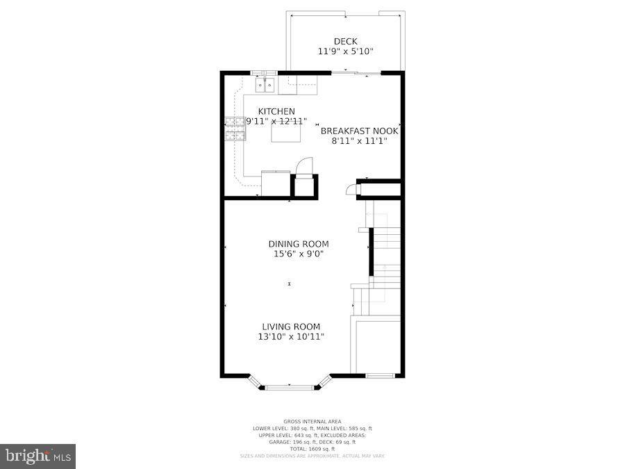 Floor Plan - Main Level of Home - 6342 JAMES HARRIS WAY, CENTREVILLE