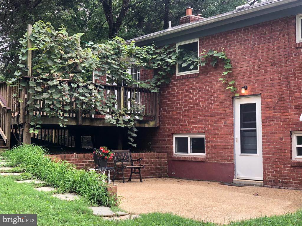 Patio with deck above, draped in grape vines! - 5905 DEWEY DR, ALEXANDRIA