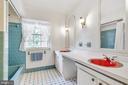 Double sink full bath in upstairs hallway - 8927 BURBANK RD, ANNANDALE