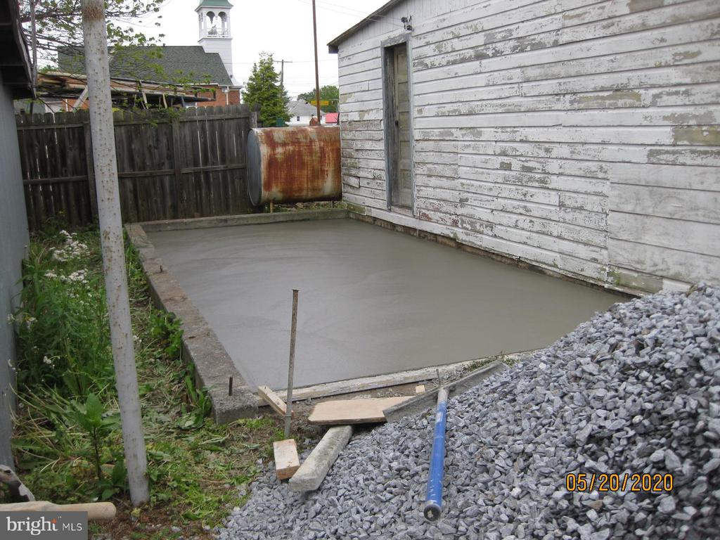 Picture of concrete area behind garage in process - 11020 HESSONG BRIDGE RD, THURMONT