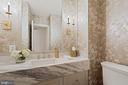 Formal Powder Room with Carrara Marble Slab - 3315 HIGHLAND PL NW, WASHINGTON