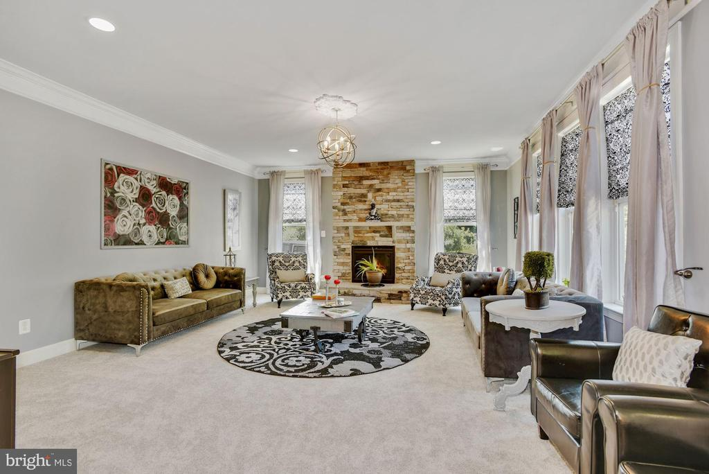 Family Room with Cozy Stone, Gas Fireplace - 41192 BLACK BRANCH PKWY, LEESBURG