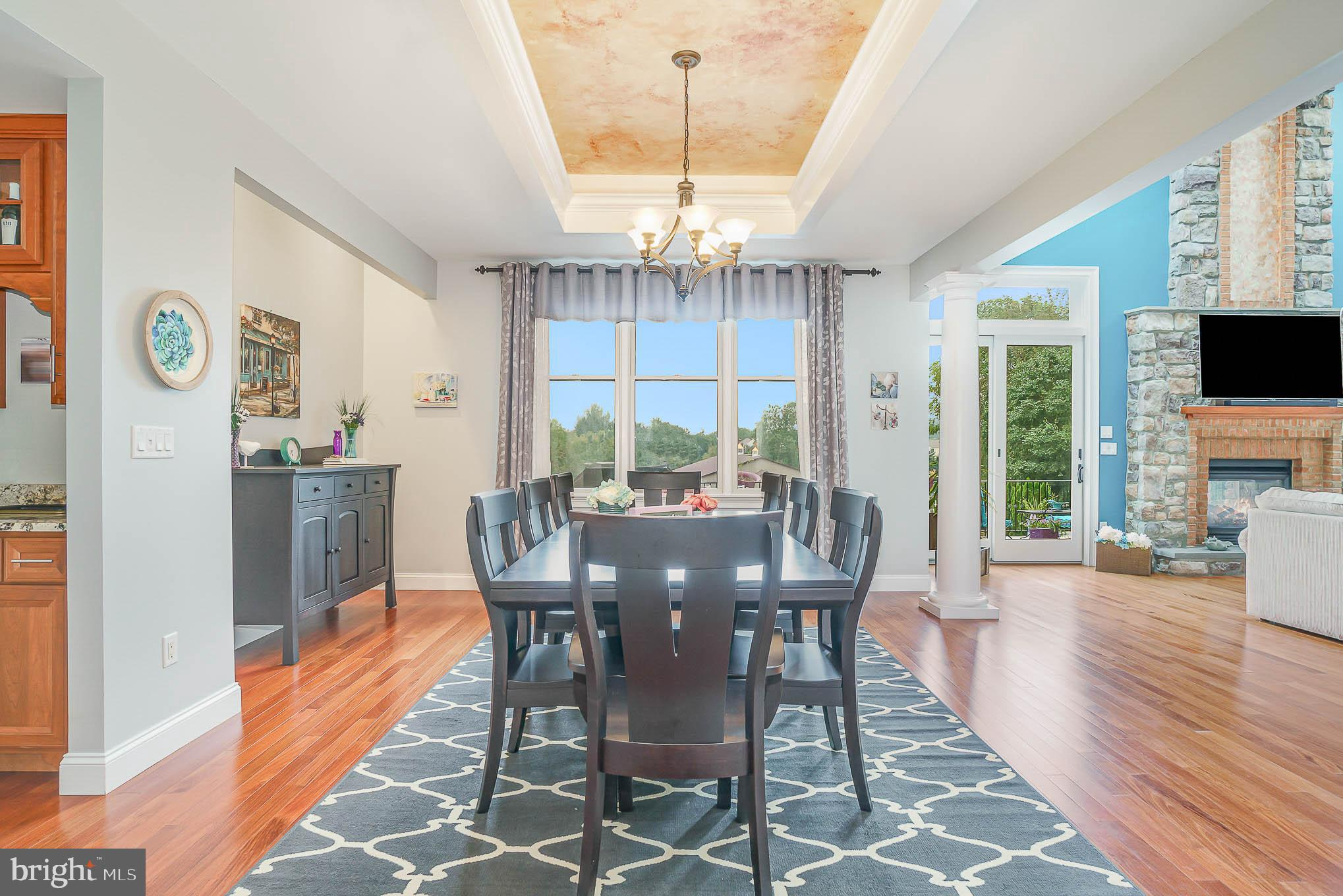 Formal dining area with tranquil views
