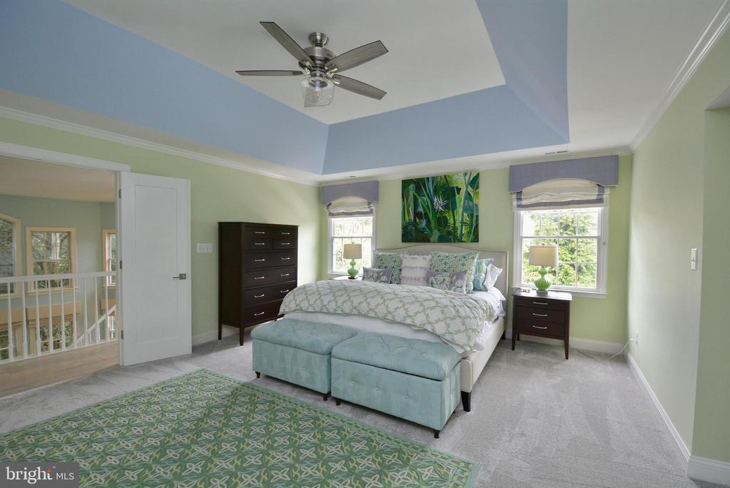 PRIMARY  BEDROOM WITH TRAY CEILING - 10203 BRITTENFORD DR, VIENNA