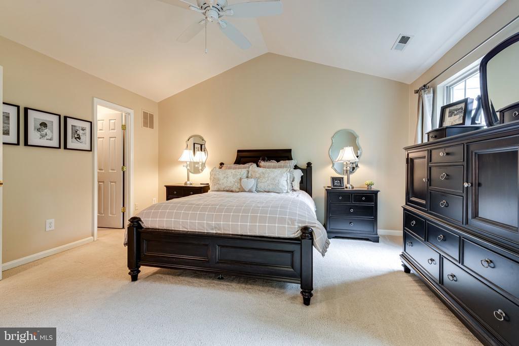 Primary bedroom has tall, vaulted ceilings - 3162 GROVEHURST PL, ALEXANDRIA