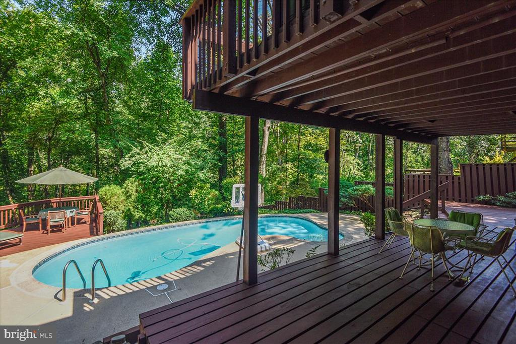 View of lower level decking and pool - 10722 CROSS SCHOOL RD, RESTON
