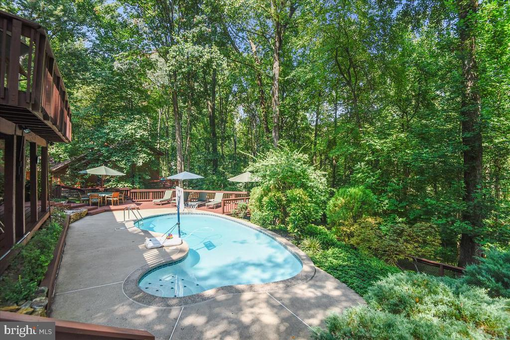 View of pool and hardscape - 10722 CROSS SCHOOL RD, RESTON