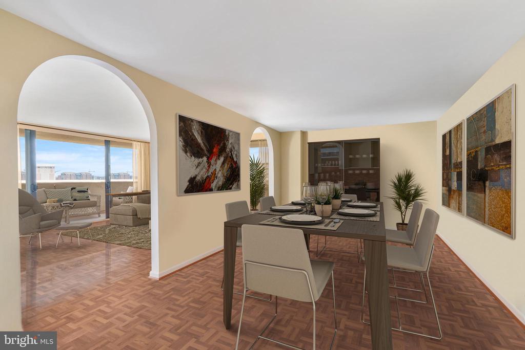 Dining room framed by archways - 1101 S ARLINGTON RIDGE RD #602, ARLINGTON