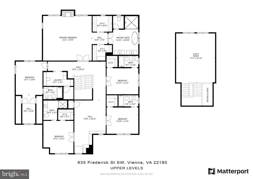 Upper level floor plan - 635 FREDERICK ST SW, VIENNA
