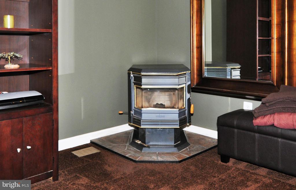 Corner wood pellet stove in Family room. - 15305 LIONS DEN RD, BURTONSVILLE