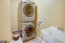 Main Level Laundry with stacked, stainless W/D - 25891 MCKINZIE LN, CHANTILLY