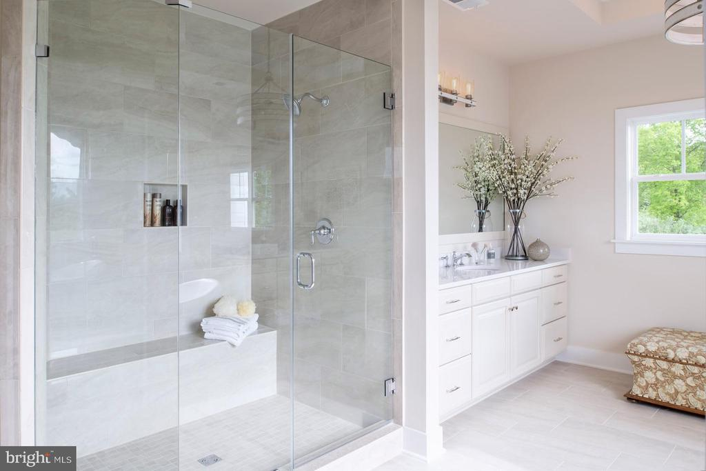 Owner's bath with frameless shower - 17711 AIRMONT RD, ROUND HILL
