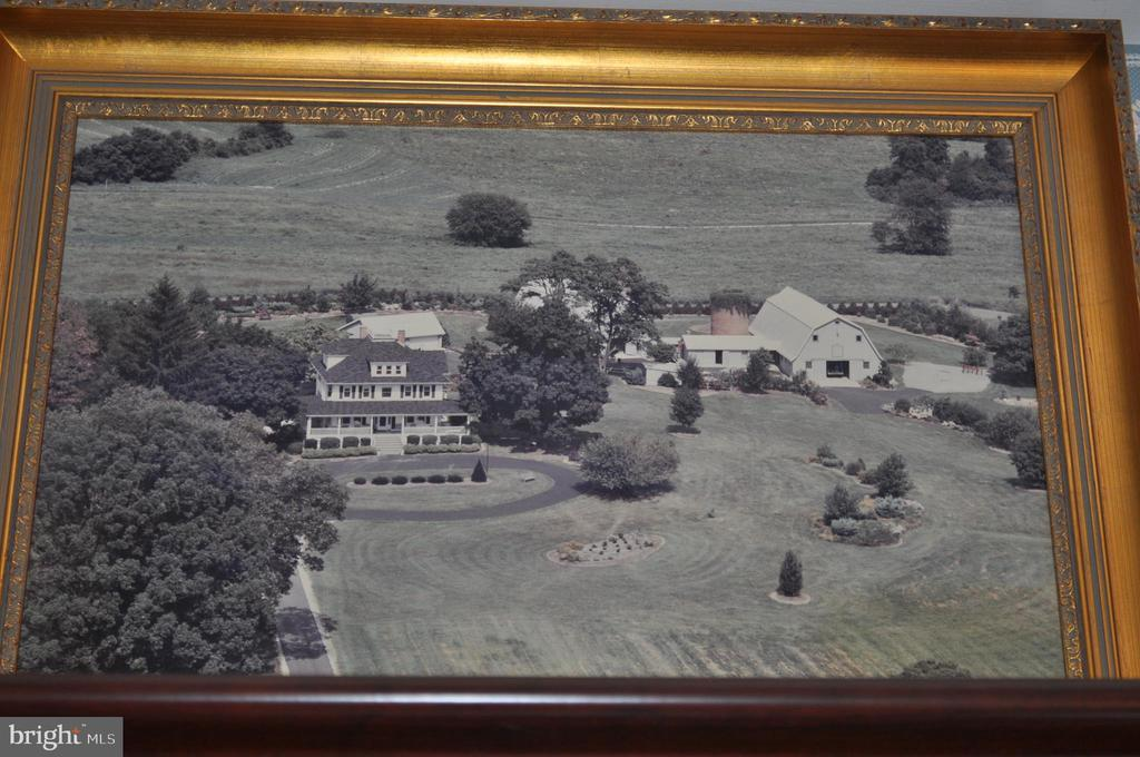 Aerial photo showing early landscaping, barns - 11690 FREDERICK RD, ELLICOTT CITY