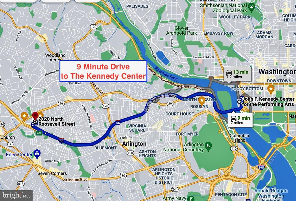 9 minute drive to The Kennedy Center - 2020 N ROOSEVELT ST, ARLINGTON