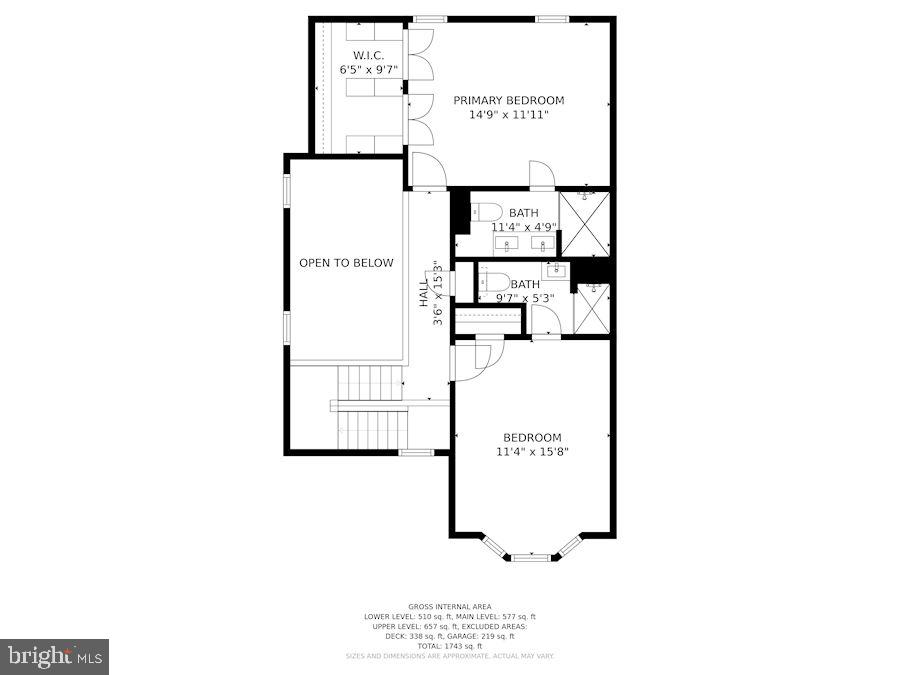 Floor Plan for Upper Level of Home - 8423 HOLLIS LN, VIENNA