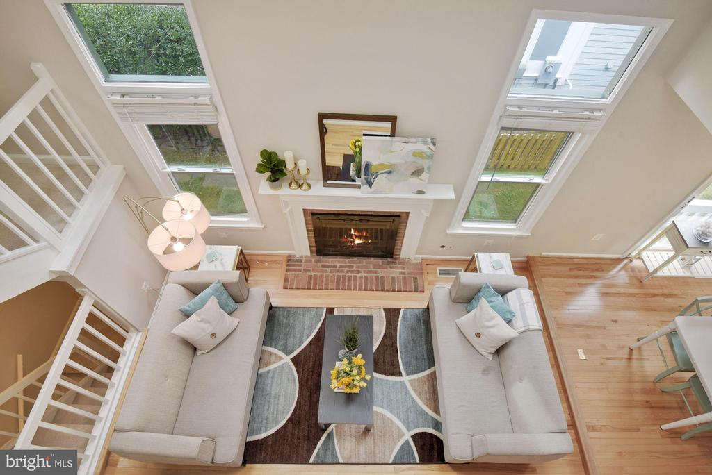 View of Pretty Living Room from Upstairs Landing! - 8423 HOLLIS LN, VIENNA