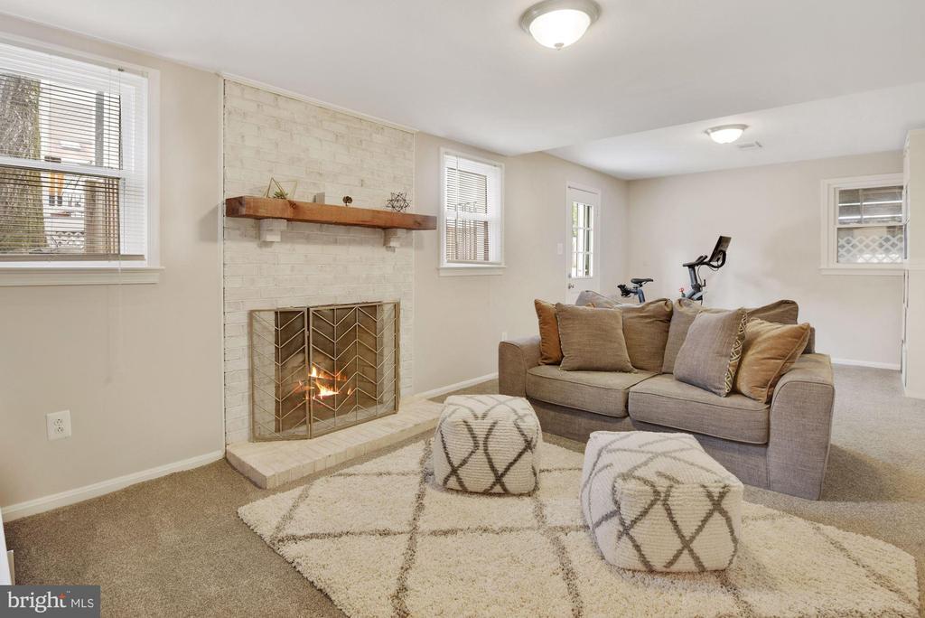 Family Rm - Lower Lvl - Wood Fireplace, New Carpet - 8423 HOLLIS LN, VIENNA