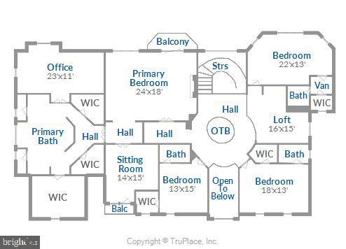 Upper level floor plan - 19186 CHARANDY DR, LEESBURG