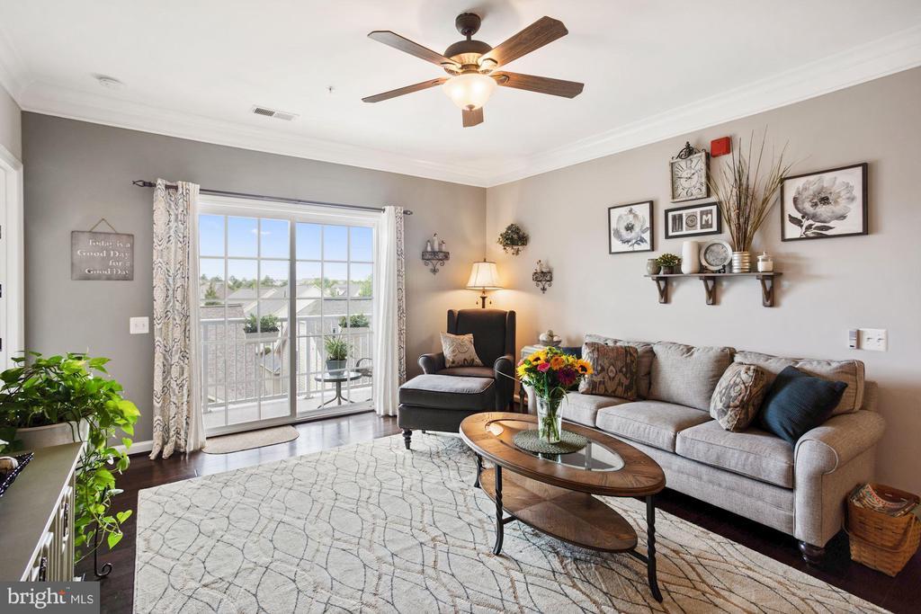 Living Room - Gleaming Hardwood Floors! - 20505 LITTLE CREEK TER #302, ASHBURN