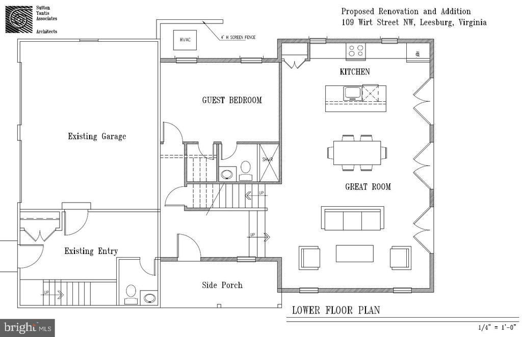 Lower floor plan drawing - 109 WIRT ST NW, LEESBURG