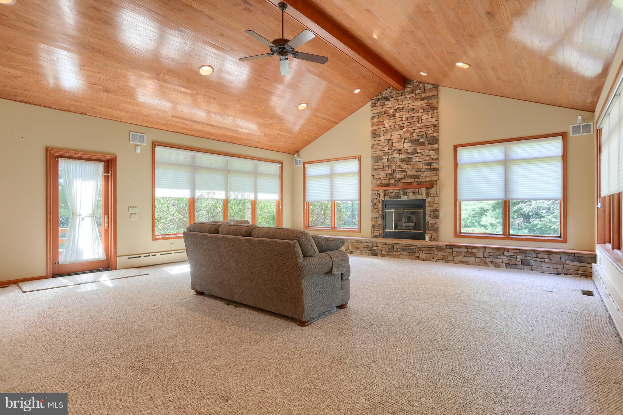Great room with stone fireplace!