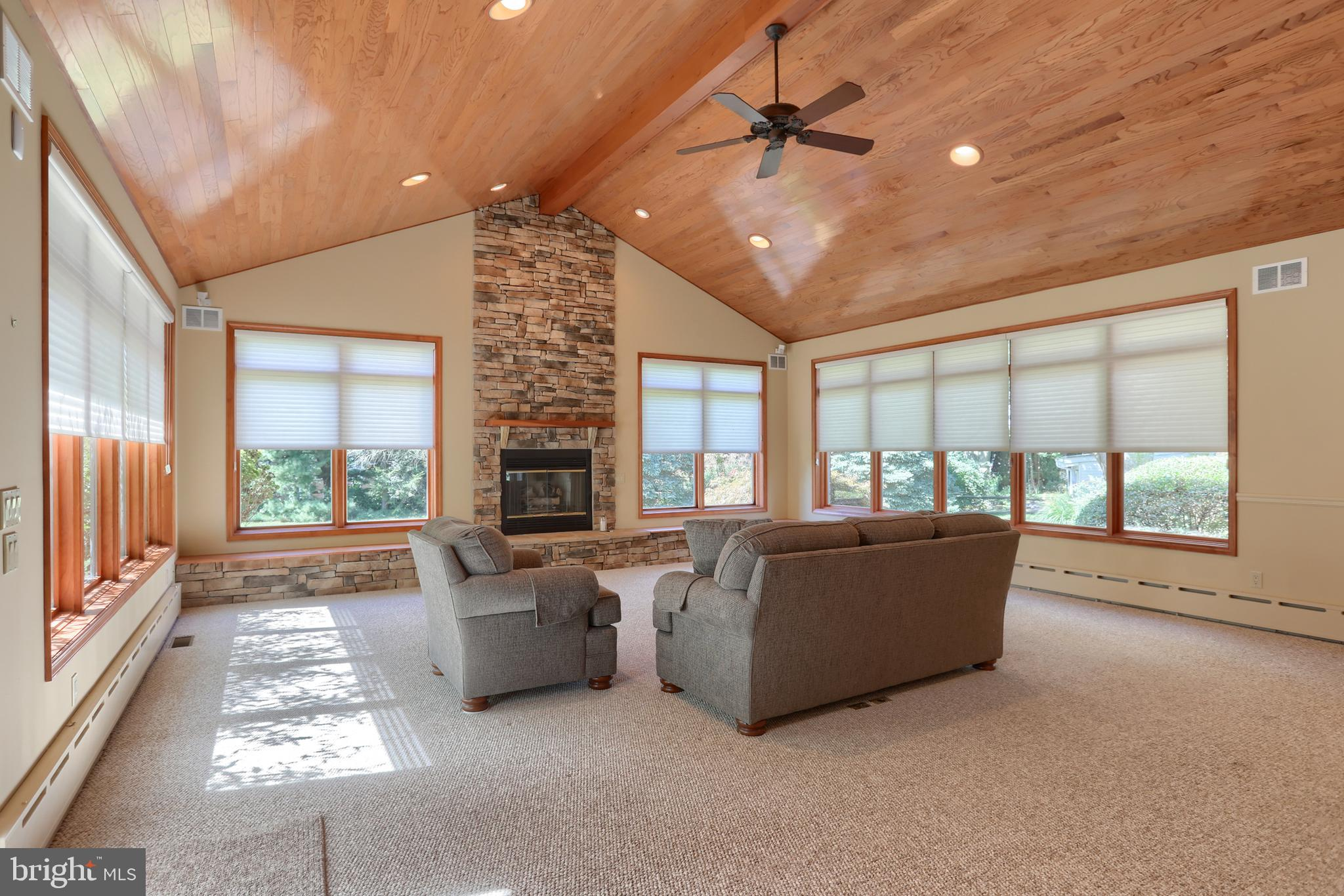 Great room with wood cathedral ceiling!