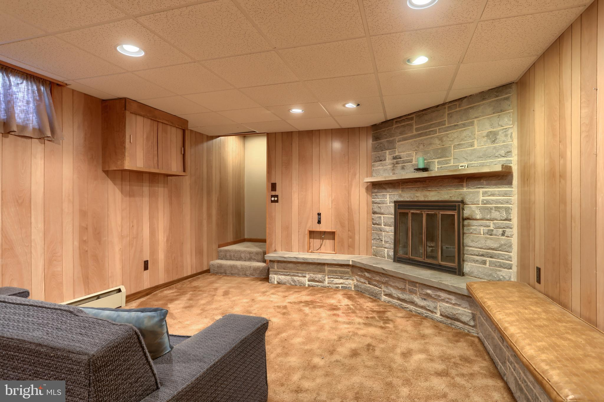 Comfortable family room with fireplace!
