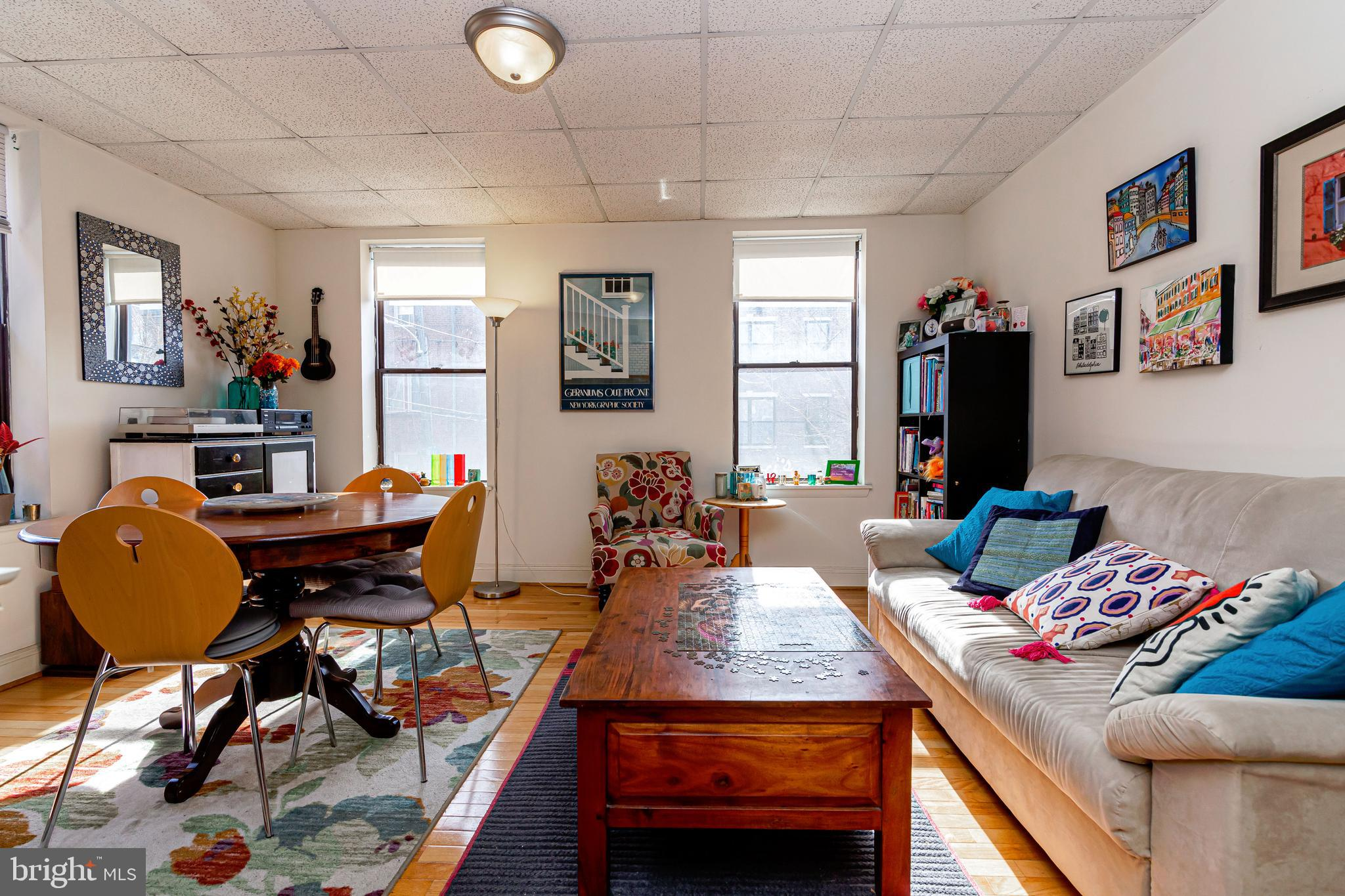 In the heart of The ITALIAN MARKET!!! This fabulous, light filled 2 bedroom BI-LEVEL apartment with SOUTH and EASTERN EXPOSURES is available for RENT. First floor boasts open kitchen all overlooking a huge living and dining area. Second floor consists of,  2 well proportioned bedrooms, one of which is ideal for a in-home office space. Central air, washer and dryer in unit. Just minutes from Sabrina's, Morning Glory, Fitzwater Cafe, Hawthornes, and DiBruno Brother's.  A MUST SEE!!!