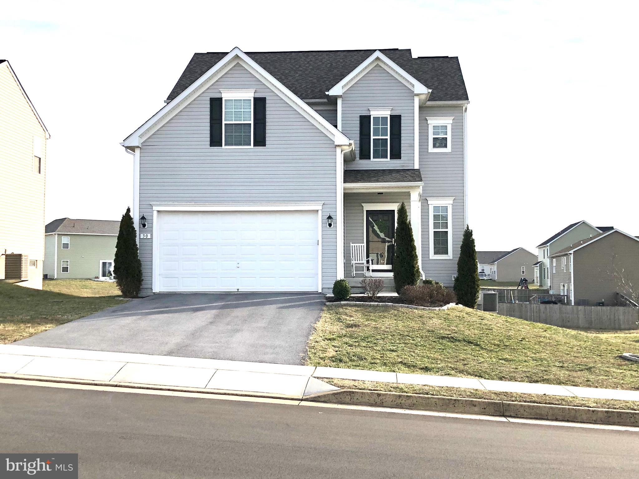 Welcome home to this hidden gem in Morning Dove Estates. Cute, covered front stoop to keep you and your guests dry from all the seasonal elements. Walk inside to be greeted by your hardwood foyer and spacious powder room. Open Family room and Kitchen concept with beautiful dark cabinets, kitchen island, and backsplash all conventiently located right off your large deck for summer BBQ's. Upstairs you will find 3 secondary bedrooms, upstairs laundry for added convenience, and a nice Owner's suite with walk-in closet, dual vanity sinks, linen closet and 5ft stand up shower! Extra space needed? No problem! The unfinished basement gives you plenty of storage opportunities or room to grow by finishing it off! You can even add an extra full bathroom if needed. Nice backyard for all to enjoy and a large storage shed included. This entire home has been VERY well cared for.  Schedule your private tour today!