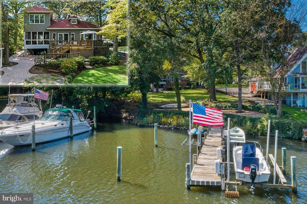 610 Amoss Road is a beautifully remodeled waterfront home with 6 bedrooms and 4 bathrooms. The property boasts a landscaped yard under a canopy of trees, and a private, deep-water pier with three boat lifts.  Located on Cypress Creek off the Magothy River, this 3400 sq ft home enjoys easy access to the Chesapeake Bay by boat and to Severna Park shopping, dining and Blue Ribbon schools by car. Step inside the sunny and spacious foyer and look straight through the open layout to the water.  The kitchen is a clean-lined and inviting space with high ceilings, light-finish custom cabinetry and black granite countertops. The chef will enjoy the top-of-the-line stainless appliances including a gas 6-burner Viking cooktop and double wall ovens, a Sub-zero refrigerator and Bosch dishwasher. There is plenty of seating at the island and there's room for a table in the breakfast nook. The open design flows into the elegant dining room, large enough to accommodate more formal gatherings. The waterside seating area features hardwood floors and a gas fireplace with marble surround. From the seating area, you can access the sunroom with a waterside office on the left and a screened porch on the right. The sunroom opens to the huge waterside deck and the patio and lawn below. In addition, there are two spacious bedrooms on the main level, one featuring a huge walk-in closet, and a full bathroom. Upstairs, master bedroom has a gorgeous view overlooking the yard to the creek. The master suite features a large walk-in closet and ensuite bath. The master bathroom boasts twin vanities with lots of storage, a deep-soaking tub, and a separate tiled rain-shower with multiple heads. The second bedroom has an ensuite bath with a tub. There are two more bedrooms with large closets on this level, as well as another full bath with a tiled rain-shower.The landscaped back yard includes a large, grassy play area, in addition to the deck and a stone patio. A stone path leads to a brick waterside pat