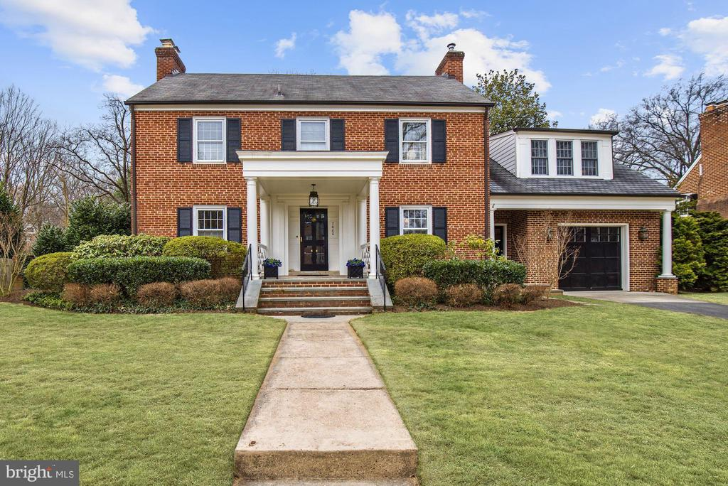 This is the house you've been waiting for!  Gracious, elegant, spacious, renovated and updated brick colonial with 5BR/3BA on second floor with a 2004 addition thoughtfully integrated into the existing house with a gourmet kitchen, breakfast area with adjoining family room and master bedroom suite above, all located in the heart of the ultra-conveniently-located and highly-desirable Hamlet neighborhood of Chevy Chase. The main level features include a large, covered front entry, formal center hall, living room with fireplace, separate dining room, gourmet kitchen with island seating and breakfast area, adjoining family room with built-ins and fireplace, a cozy 3-season sun room, butler's pantry with bar, powder room, the best mud room in the price range and 1-car garage. The second floor offers five bedrooms/three baths and the most gracious, tasteful master bedroom suite on the market in this price range, including the bedroom with seating area, a superior walk-in closet and wonderful bathroom.  The secondary bedrooms are all well-proportioned. There is a walk-up attic for storage or future possibilities.  The lower level has a great, south-facing recreation room with four windows, a bathroom, utility/storage/laundry room and rear storage room.  The lot is 9,918 SF (.23 acre) with a fenced, private yard with mature plantings, and there is plenty of additional driveway parking.