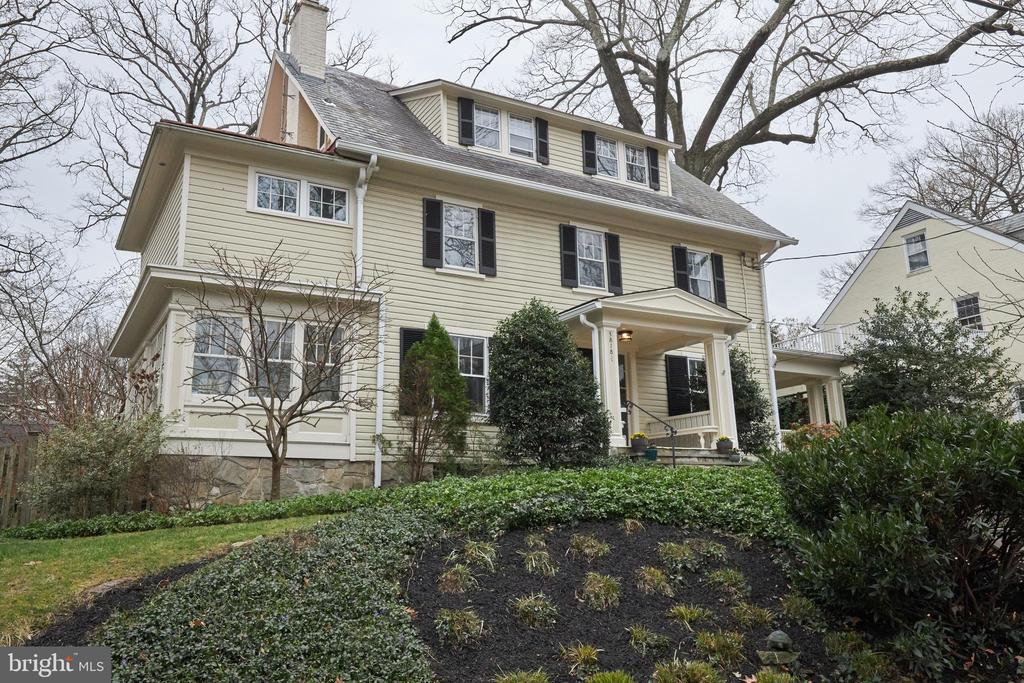 Large Classic Colonial located on one of the most sought-after streets in Chevy Chase. This gorgeous 1911 home has been updated for today's living. It features oversized windows, well-proportioned rooms, charming details and modern amenities. Fabulous family room just off kitchen, sunroom/reading room, updated kitchen, huge dining room, two wood-burning fireplaces, charming side porch, beautiful gardens and stone patio. The second level features a beautiful master suite, two additional ample bedrooms and hall bathroom. Third level has two huge bedrooms, a hall bath and a large storage room. Unfinished lower level with full bath and laundry room. 75 Walk Score and a 7-minute stroll to Friendship Heights Metro.  Offers, if any, due Tuesday, 3/17, at 6 PM.