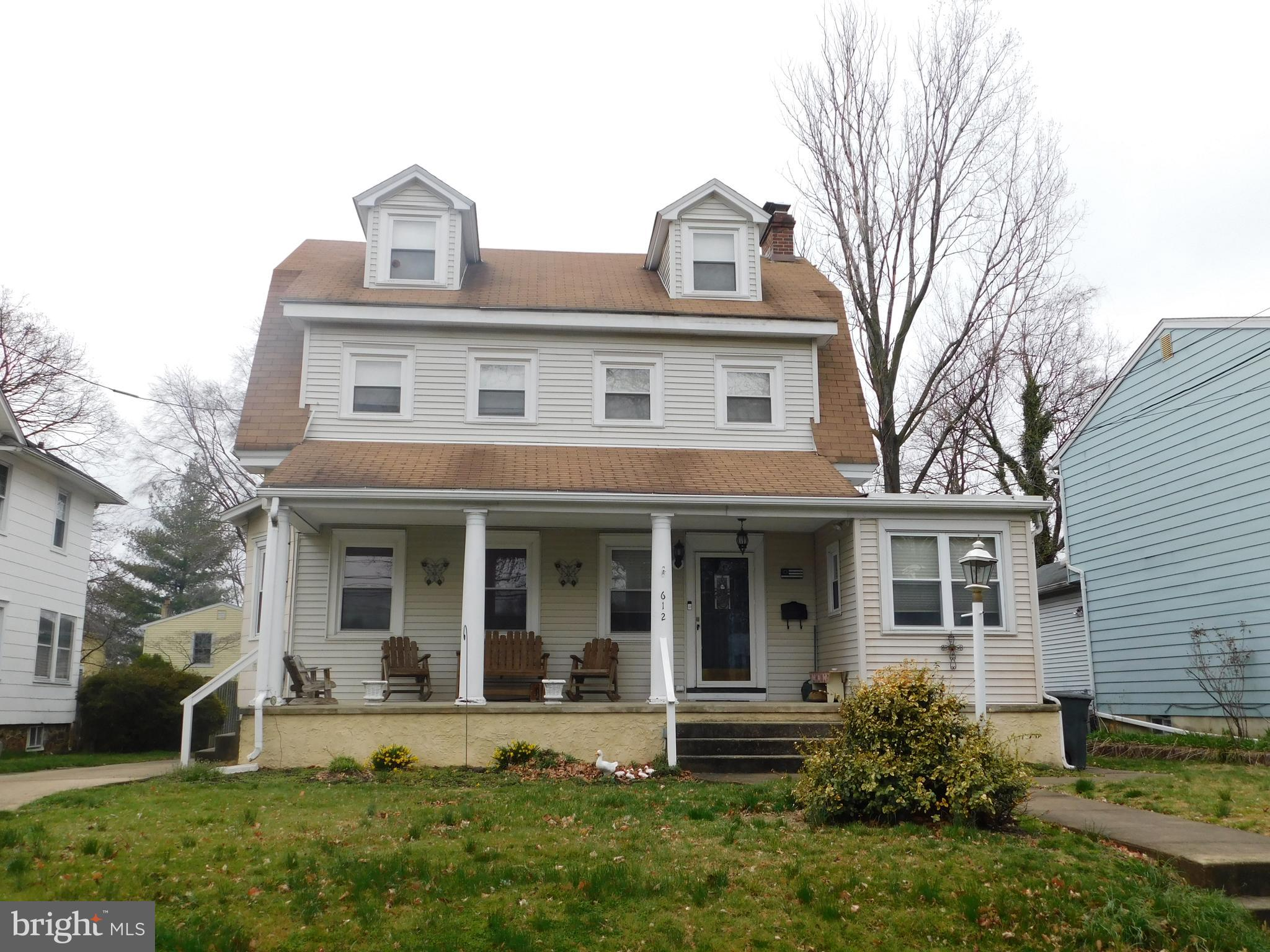 This large three story  single in Interboro School District has plenty of room.   Large open front porch. Formal  living room w/mantle fireplace, step down to an  enclosed side room w/bar, large eatin kitchen w/breakfast bar, dining room and 1st fl family room with powder room and mud room w/side exit to rear deck.  2nd floor has three bedrooms and full bath, also additional room leading to third floor master bedroom suite w/full master bath.  Full partially finished basement w/office and laundry.  This home also features a large private drive leading to a detached 2 car garage w/electric service.  Convenient to airport, transportation and shopping.