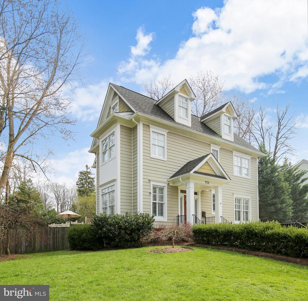 Enjoy being only a mile to downtown Bethesda, but also tucked away in this 5 BR 4.5 BA luxury Craftsman home in the Pyle/Whitman HS neighborhood. Gleaming hardwood floors, high ceilings, plantation shutters, custom moldings and detailed finishes throughout. The timeless interior features a large foyer, formal Dining Room, Family Room w/stone fireplace opening up to a Gourmet center island kitchen. It is the perfect space for preparing meals and entertaining with high-end stainless steel appliances, gas cooktop, granite counters, and abundant cabinetry. ~Upper level is complete with Laundry, Owner's Suite with soaking tub/shower, walk-in closets, and another fireplace. Two additional large bedrooms are adjoined by a full bath. ~Finished Third Level includes a bonus bedroom/bathroom suite. ~The spacious lower level provides a 5th bedroom/full bathroom and recreation room. Attached front loading 2 Car Garage. Large deck and separate side deck provide a relaxing outdoor retreat. Low maintenance fenced in backyard with play equipment that conveys. Convenient location close to schools, park, restaurants and red line metro. Easy access to I-495/VA.